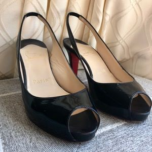 Christian Louboutin 90mm Black Slingbacks